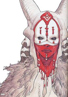 "Togruta concept art for Shaak Ti by Dermot Power, The Art of Star Wars Episode II: Attack of the Clones. ""This red and white pattern was a phenotype left over from their ancestor's camouflage that helped them to blend in with their natural surroundings, especially the red-and-white turu-grass which dominated Shili's scrublands."""