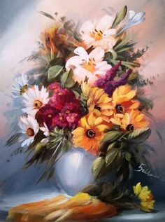 Simple Oil Painting, Oil Painting Flowers, Artist Painting, Watercolor Paintings, Oil Painting Pictures, Pictures To Paint, Art Pictures, Flowers Nature, Beautiful Flowers