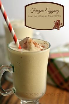 Frozen Eggnog Low-carb, Sugar-free, THM:S.here's a healthy version of a Thomas family Christmas Eve tradition. Ditch the store-bought junk. Ugh, that stuff is nasty. Low Carb Sweets, Low Carb Desserts, Diabetic Recipes, Low Carb Recipes, Diabetic Drinks, Low Carb Keto, Free Recipes, Vegetarian Recipes, Healthy Recipes