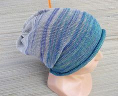 knit hat knitted colorful gray blue cap by peonijahandmadeshop