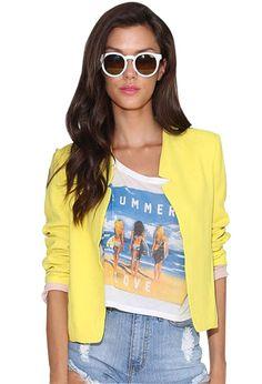 $26.99 HAOYOUDUO Womens Office Ladies Open front Long Sleeve Crop Blazer Jacket Yellow M