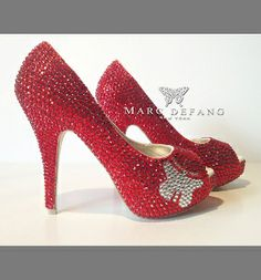 Signature butterfly Red Crystal Peep toes by MARC DEFANG