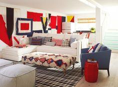 Burnham Design 2014 Coastal Living Showhouse featuring #DashandAlbert's Tattersall Black/Ecru Woven Cotton Rug.