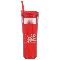 Take your Go Red For Women rhinestone tumbler everything. Will fit great in your car cup holder or on your desk in the office. It has a full wrap of rhinestones around the top of the cup and features the Go Red For Women logo. Comes with the straw....