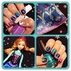 Take two on my frozen nails attempt by using the designs and colors from Anna's dress :) love the colors so much! And of course, a little Olaf too