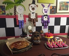 It's a 'Five Nights at Freddy's Themed Birthday Party! Paper plate puppets, perfect!!