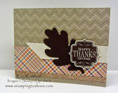 """Stampin' Up! demonstrator Kay Kalthoff with Stamping to Share shows off this great """"mail-able"""" Thanksgiving card that uses the Tags 4 You stamp set and punch bundle. Fall Cards, Holiday Cards, Holiday Ideas, Thanksgiving Greetings, Diy Craft Projects, Crafts, Embossed Cards, Autumn Theme, 25th Anniversary"""