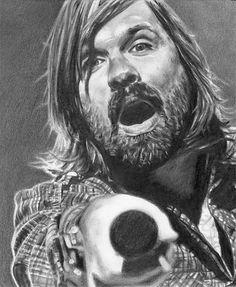pencil portrait of Mac Powell