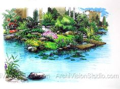waterfall landscape design   Landscape Rendering