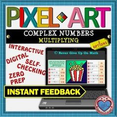 PIXEL ART: Multiply Complex Numbers (2 Options) DISTANCE LEARNING Interactive Activities, Math Activities, Teaching Resources, Math Stations, Math Centers, Complex Numbers, 12th Maths, Secondary Teacher, Differentiation