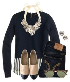 This is super cute for fall/winter:) by flroasburn on Polyvore featuring polyvore, fashion, style, J.Crew, Hollister Co., Chanel, BaubleBar, Ray-Ban and clothing