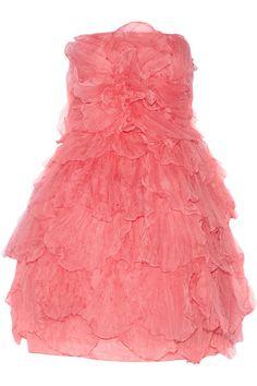 Oscar de la Renta coral silk layered tulle dress - just delicious Pink Silk Dress, Tulle Dress, Pink Tulle, Dress Red, Kawaii Fashion, Lolita Fashion, Oscar Dresses, Prom Dresses, Pink Cocktail Dress