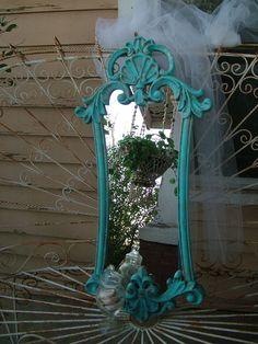 Aqua Ornate  Sea Shell Mirror Beach Cottage Decor Use in Foyer, Bathroom, Nursery, etc.... 32 x 15 /2 on Etsy, $110.00