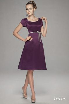 2015 Grape Satin Square Bowknot Buttons Knee Length Short Sleeves Mother of the Bride Dresses Bella MBD1576