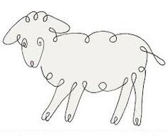 Continuous Line Lamb Quilting Stencils, Longarm Quilting, Free Motion Quilting, Machine Quilting, Quilting Designs, Animal Line Drawings, Animal Outline, Wire Art Sculpture, Single Line Drawing