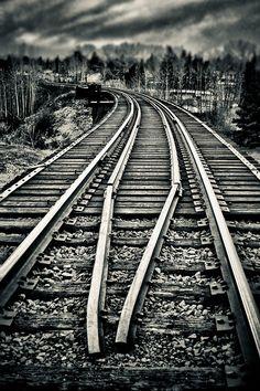Train Tracks - B&W - HDR