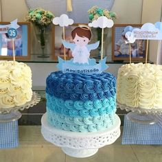New baby boy baptism desserts cake toppers Ideas Christening Cake Boy, Baby Boy Baptism, Baptism Party, Baby Girl Birthday, Ideas Bautismo, Baptism Desserts, Cakes For Boys, Baby Shower Decorations, Cake Toppers