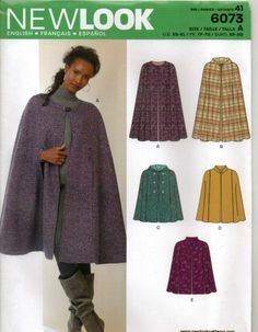 From UK Sewing Pattern Cape Capelet Coat 6-24 #6073