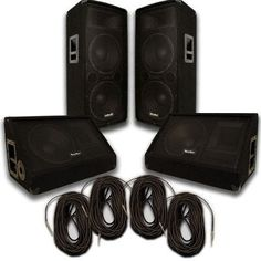 """Pair of Dual 12"""" PA Speakers, 12"""" Floor Monitors, and 4 50' Cables"""