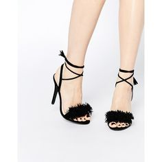 Daisy Street Black Pom Ghillie Lace Up Heeled Sandals (195 RON) ❤ liked on Polyvore featuring shoes, sandals, black, lace up shoes, tie sandals, black heel sandals, laced up shoes and black lace up shoes