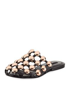 Amelia+Studded+Caged+Leather+Mule,+Black+by+Alexander+Wang+at+Neiman+Marcus.