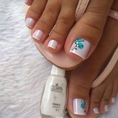 Salve este Pin e clique 2 vezes na foto, Receba mais de 100 ideias internacionais de unhas pintadas, Vc vai amar! Pedicure Designs, Pedicure Nail Art, Toe Nail Designs, Toe Nail Art, Toenail Polish Designs, Nail Nail, Pretty Toe Nails, Cute Toe Nails, Nails Polish