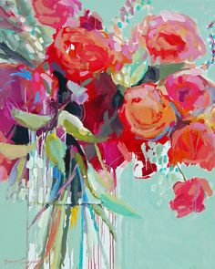 Start with a bold piece of artwork that inspires your redecorating palette. Here is a beautiful still life painting - paintings by erin fitzhugh gregory. Arte Floral, Art Amour, Art And Illustration, Paintings I Love, Flower Paintings, Flowers In Vase Painting, Paint Flowers, Diy Flowers, Beautiful Paintings