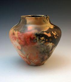pit & saggar fired vase, would love to pit fire my pots some day