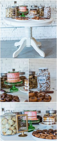 """Wedding reception dessert table, naked cake with dripping pink icing, jar of salty caramels, gold """"all you need is love and cookies"""" sign, white table, scones // Gorge-Us Photography"""