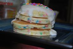 Cake batter pancakes. Super yummy and super easy.