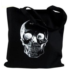 Skull Tote Bag - Anatomical Skull Illustration on a Black Bag ($12) found on Polyvore