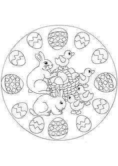 A colorier, une jolie mandala qui représente des œufs, des lapins et des canetons.