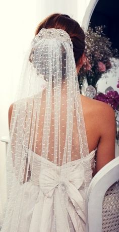 Add a hint of bling detail to your veil like this bride did!