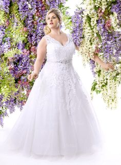 Wedding Dresses - $224.43 - A-Line/Princess V-neck Court Train Tulle Wedding Dress With Beading Appliques Lace (0025058075)