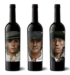 The Matsu's wine triology, 'El Pícaro', 'El Recio' and 'El Viejo' are represented by a portraits series of three generations that devote their lives to the field. Each one personality's embodies the characteristics of the wine that gets its name. Wine Bottle Design, Wine Label Design, Wine Bottle Labels, Wine Bottles, Wine Packaging, Packaging Design, History Of Wine, Different Wines, Organic Wine