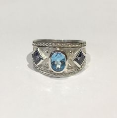Kevin Cremin - Silver Tapered Byzantine Ring with Blue Topaz and Iolite - size 6.75