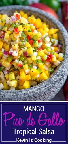 This south of the border, tropical influenced, Mango Pico de Gallo is a hit every time. Sweet and tangy pieces of mango mixed with diced peppers, jicama, red onion and cilantro all marinate in fresh lime juice, cumin and garlic. #spon #salsa #mango #pico @KettleBrand
