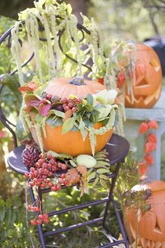 Autumnal garden decoration with pumpkins
