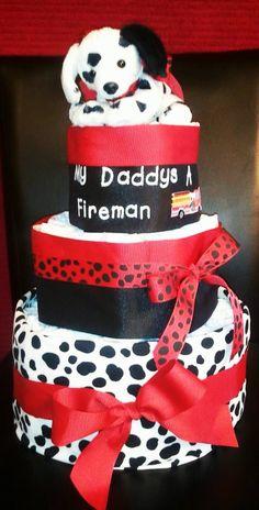 My Daddy's A Fireman Diaper Cake