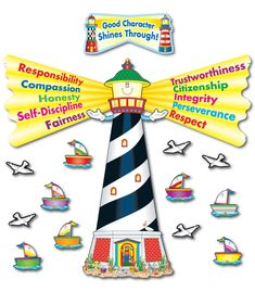 Let you students' good traits radiate by displaying Good Character Shines Through Bulletin Board Set! The bulletin board set contains a four-piece lighthouse, 26 boat accent pieces, 20 seagull accent pieces, a header, and a teacher resource guide. Included in the resource guide are cross-curriculum activities and reproducible award and boat patterns.