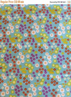 50% OFF SALE Cotton Fabric, Quilt Fabric, Floral Whimsy by Northcott,, Aqua background, Fast Shipping