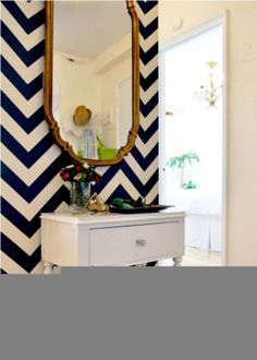 chevron wall. LOVE navy with antique gold accents. powder room??