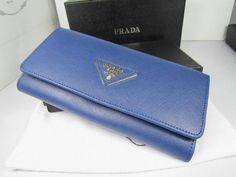 b001497b96 Portafoglio Prada Saffiano 0512 in Fiordaliso Blu replica borse