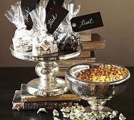 Antique Mercury Glass Candy Bowl & Cake Stand