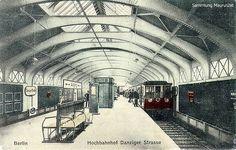 Der heutige Bahnhof Eberswalder Straße auf einer Postkarte aus dem Jahr 1923. Damals hieß er Danziger Straße.