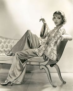 They knew how to relax in style back in the 30s:  An Asian-inspired loungewear set on Ida Lupino | The Cats and the Berries: A Pajama and Loungewear Obsession: Part One