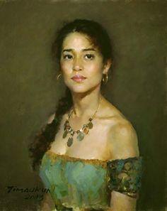 Artist: Yim Mau-kun, oil on canvas, 2003 {contemporary figurative impressionist beautiful female torso woman face portrait painting}