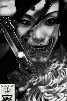 difgital work #japanese samurai #tattoo idea #jappanese tattoo #realistic tattoo