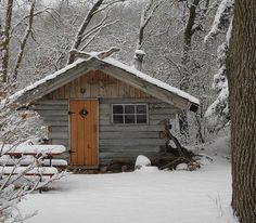 Log Cottage in the Snow