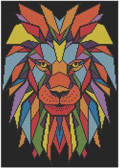 Geometric Lion - Counted Cross Stitch Pattern (X-Stitch PDF) Geometric Lion Counted Cross Stitch Pattern X-Stitch PDF Cross Stitch Fabric, Cross Stitch Needles, Counted Cross Stitch Patterns, Cross Stitch Embroidery, Modele Pixel Art, Geometric Lion, Dmc Embroidery Floss, Hand Embroidery, Embroidery Patterns